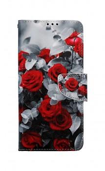 Knížkové pouzdro na Samsung A12 Červené růže mix