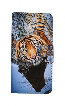 Knížkové pouzdro na Samsung A12 Hnědý tygr