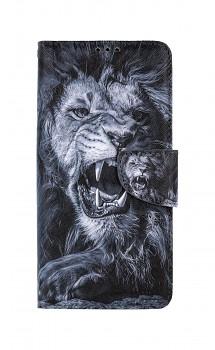 Knížkové pouzdro na Samsung A12 Černobílý lev