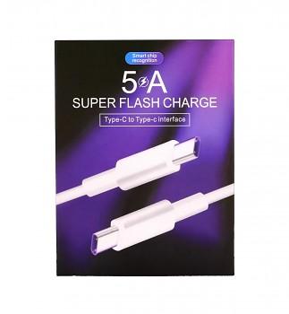 Datový kabel Super Flash Charge USB-C - USB-C 1 m bílý 5A