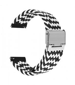 Pletený řemínek Braid pro Apple Watch 3-4-5-6-SE 42-44mm černo-bílý