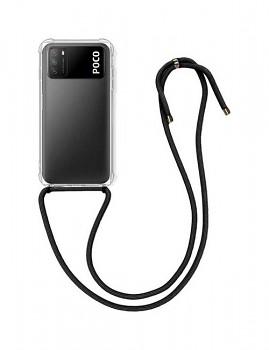 Zadní silikonový kryt na Xiaomi Poco M3 s černou šňůrkou průhledný