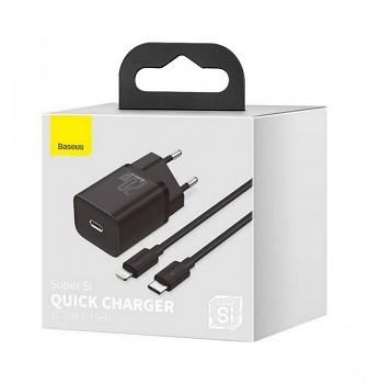 Rychlonabíječka Baseus Super Si 20W pro iPhony včetně datového kabelu černá