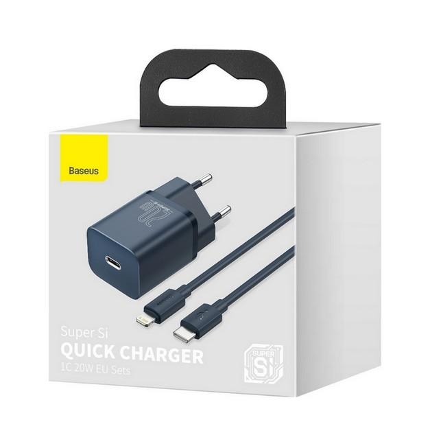 Rychlonabíječka Baseus Super Si 20W vč. datového kabelu USB-C (Type-C) na lightning modrá 60770
