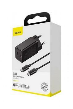 Rychlonabíječka Baseus GaN Mini 45W včetně datového kabelu USB-C černá