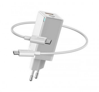 Rychlonabíječka Baseus GaN Mini 45W včetně datového kabelu USB-C bílá (USB-A + USB-C)