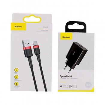 Rychlonabíječka Baseus Speed Mini 18W včetně datového kabelu USB-C černo-červená