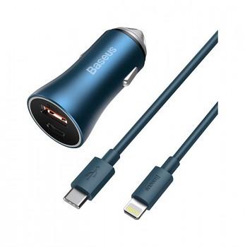 Rychlonabíječka do auta Baseus Golden Contactor Pro 40W pro iPhone včetně datového kabelu modrá