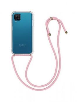 Zadní silikonový kryt na Samsung A12 s růžovou šňůrkou průhledný