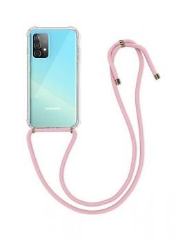 Zadní silikonový kryt na Samsung A52 s růžovou šňůrkou průhledný