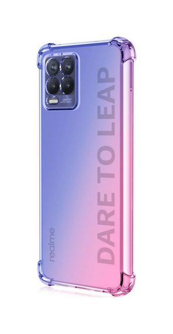 Zadní silikonový kryt na Realme 8 Shock duhový modro-růžový