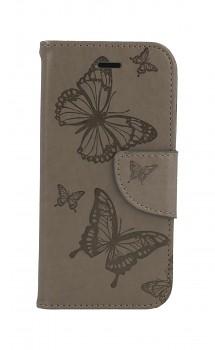 Knížkové pouzdro na iPhone SE 2020 Butterfly šedé