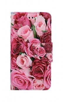 Knížkové pouzdro na iPhone SE 2020 Růžové růžičky