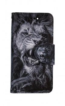 Knížkové pouzdro na iPhone SE 2020 Černobílý lev