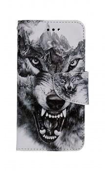 Knížkové pouzdro na iPhone SE 2020 Černobílý vlk