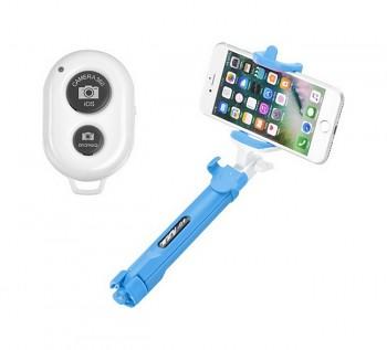 Bluetooth tripod selfie tyč Blun modrá