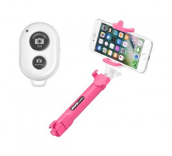 Bluetooth tripod selfie tyč Blun růžová