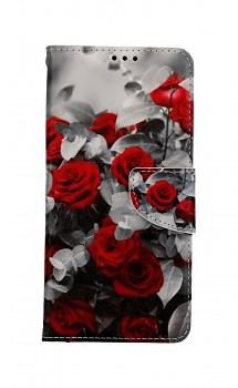 Knížkové pouzdro na Samsung A52 Červené růže mix