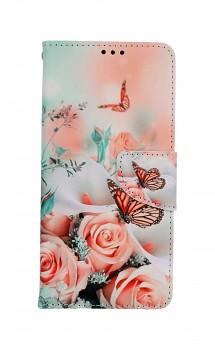 Knížkové pouzdro na Samsung A52 Růže s motýlem