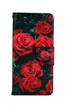 Knížkové pouzdro na Samsung A52 Červené růžičky