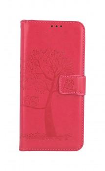 Knížkové pouzdro na Samsung A32 Tmavě růžový strom sovičky