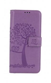 Knížkové pouzdro na Samsung A32 Světle fialový strom sovičky