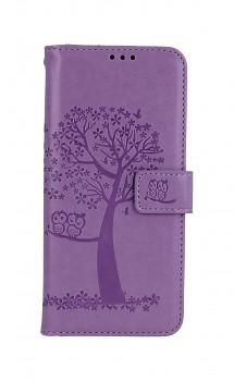 Knížkové pouzdro na Realme 8 Světle fialový strom sovičky