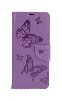 Knížkové pouzdro na Samsung A12 Butterfly fialové