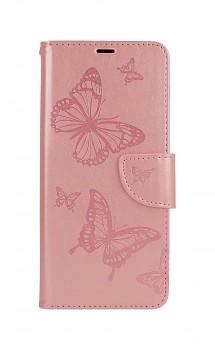 Knížkové pouzdro na Samsung A12 Butterfly růžové světlé