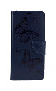 Knížkové pouzdro na Samsung A12 Butterfly modré tmavé