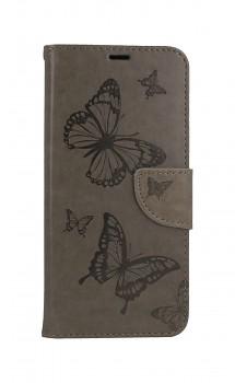 Knížkové pouzdro na Xiaomi Poco M3 Butterfly šedé