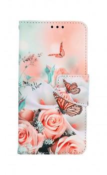 Knížkové pouzdro na iPhone 11 Růže s motýlem