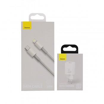 Rychlonabíječka Baseus Super Si 30W pro iPhony včetně datového kabelu bílá