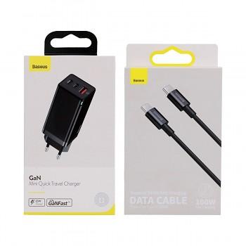 Rychlonabíječka Baseus GaN Mini 60W včetně datového kabelu USB-C černá
